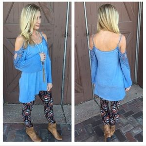 NEW Infinity Raine | cold shoulder lace top blue